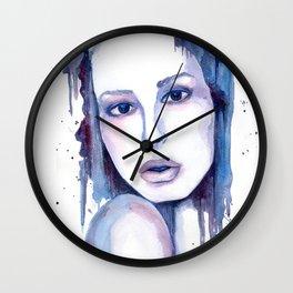 Watercolor - Woman in blue Wall Clock