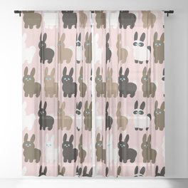 Spring bunny rabbits Sheer Curtain