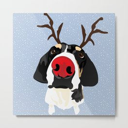 Ruldolph the Red Nose Dog Metal Print