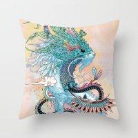 spirit Throw Pillows featuring Journeying Spirit (ermine) by Mat Miller