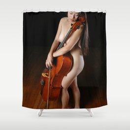 0199-JC Nude Cellist with Her Cello and Bow Naked Young Woman Musician Art Sexy Erotic Sweet Sensual Shower Curtain