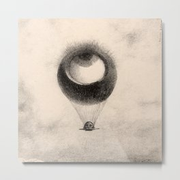 Odilon Redon - The Eye, Like a Strange Balloon Moves Towards Infinity, plate one from To Edgar Poe Metal Print