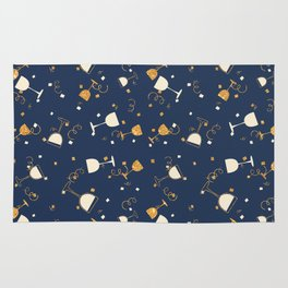 Chic navy blue faux gold glitter party time Rug