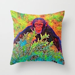 AnimalColor_Chimpanzee_003_by_JAMColors Throw Pillow