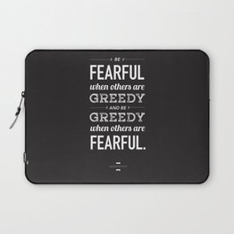 Buffett | Be Fearful When Others Are Greedy | Black Laptop Sleeve