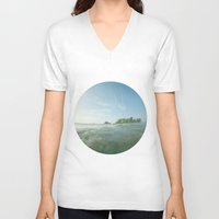 island V-neck T-shirts featuring island by rAr : Art by Robyn Ashley Rosner