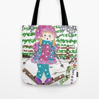 ski Tote Bags featuring Ski girl by iCraftCafé