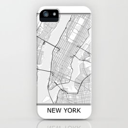 New York City Map Black and White iPhone Case