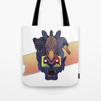 hotline miami Tote Bags featuring Hotline Miami 2: The Fans by FinnbarrMartin