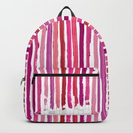 Lipstick Stripes - Floral Fuschia Red Backpack