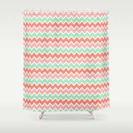 Coral Orange and Peach Pink and Mint Green Chevron Shower Curtain