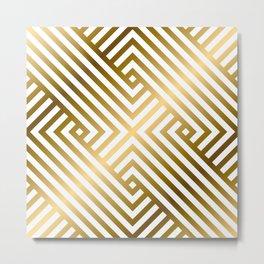 Art Deco Gold and Alabaster White Geometric Pattern Metal Print