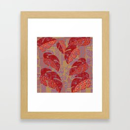 Hawaiian Lava Leaves Tapa Print Framed Art Print