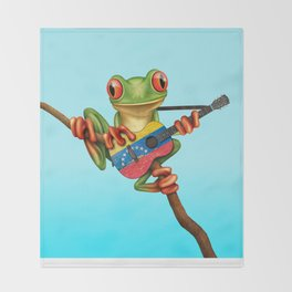 Tree Frog Playing Acoustic Guitar with Flag of Venezuela Throw Blanket