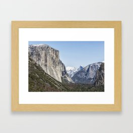 El Capitan, Half Dome and Sentinel Rock from Tunnel View Framed Art Print