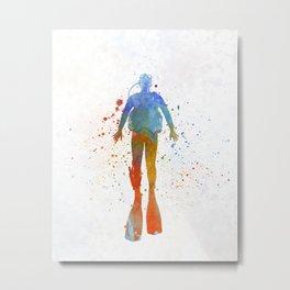 Man scuba diver 04 in watercolor Metal Print