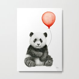 Panda and Red Balloon Baby Animals Watercolor Metal Print