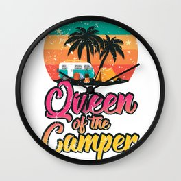 Queen of the Camper Retro Vintage Tent Van RV Wall Clock