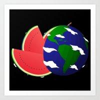Watermelon Earth Art Print