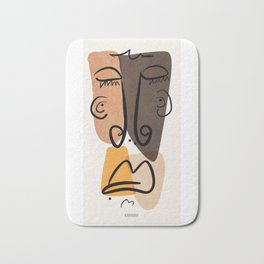 Sad Snob, Abstract Home Decor, Line Face, Portrait, Picasso Inspired Bath Mat