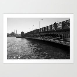 City of bridges, urban, photography, black and white Art Print