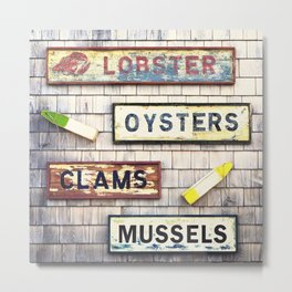 Seafood notices for lobsters, mussels,oysters and clams.  Metal Print