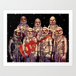 Astronauts with Guitar Art Print