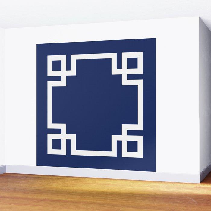 Navy Blue Greek Key Wall Mural By Doodlesdesigns Society6