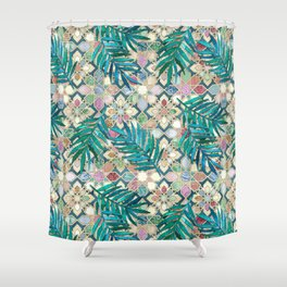 Muted Moroccan Mosaic Tiles with Palm Leaves Shower Curtain