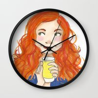 amy pond Wall Clocks featuring Amy Pond Lemonade by Lena Lang
