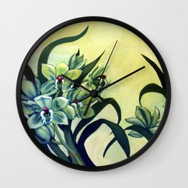 Green Orchids Triptych Wall Clock