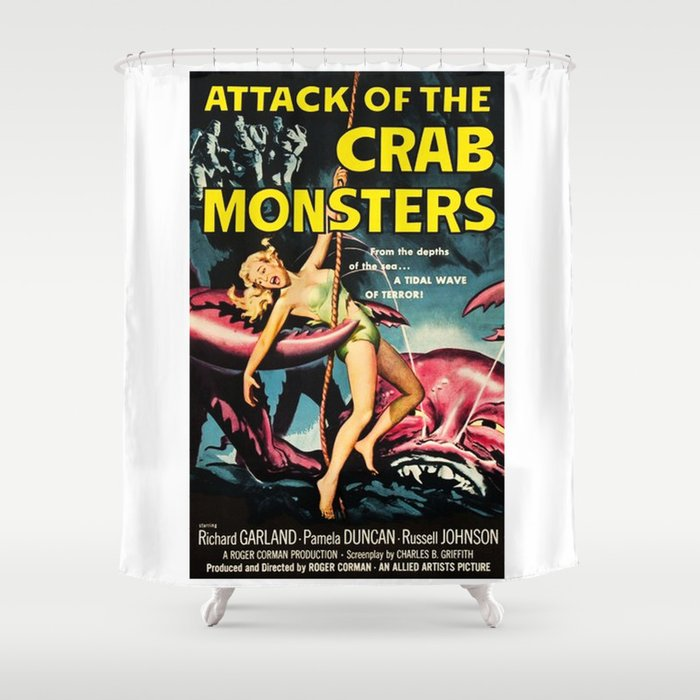 Attack Of The Crab Monsters Vintage Horror Movie Poster Shower Curtain