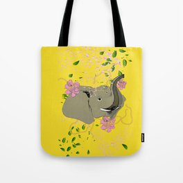Lucky Elephant in Yellow Tote Bag