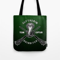 quidditch Tote Bags featuring Slytherin quidditch team iPhone 4 4s 5 5c, ipod, ipad, pillow case, tshirt and mugs by Three Second