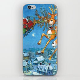 Santa circling over the little town of Bishop Hollow iPhone Skin