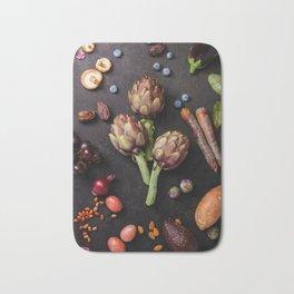 Assortment raw organic of purple ingredients Bath Mat