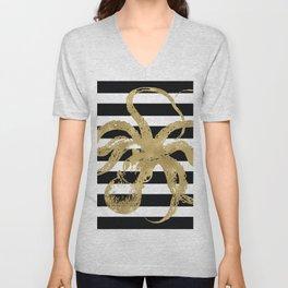 Gold Octopus on Black & White Stripes Unisex V-Neck