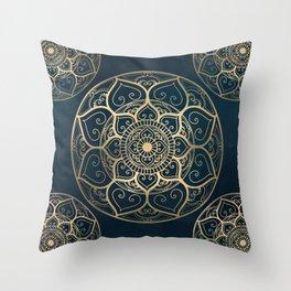 Mandala Night Blue Throw Pillow