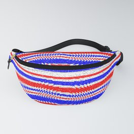 Red White Blue Waving Lines Fanny Pack