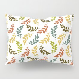 Colorful Leaves, Leaf Pattern - Blue Green Yellow Pillow Sham