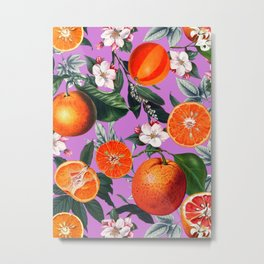Vintage Fruit Pattern X Metal Print