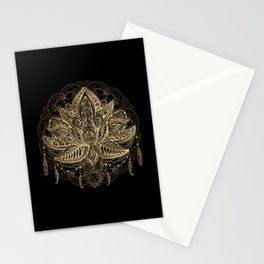 Lotus Black & Gold Stationery Cards