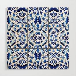 Folk Art Flowers - Blue and White Wood Wall Art