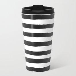 Black paint stripes Metal Travel Mug