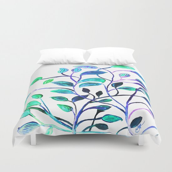 Shiny Silver Teal Leaves Duvet Cover