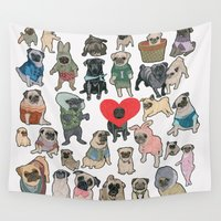 pugs Wall Tapestries featuring Pugs by Yuliya