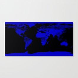 worlD Map Blue & Black Canvas Print