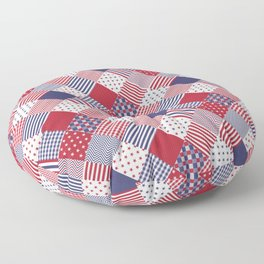 Red White & Blue Patchwork Quilt Floor Pillow