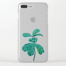 fiddle leaf fig watercolor Clear iPhone Case