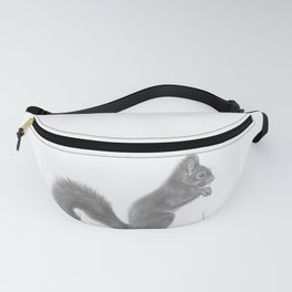 Pencil Drawing of Squirrel - Wildlife Animal Graphite Art Artwork by moiimran Fanny Pack